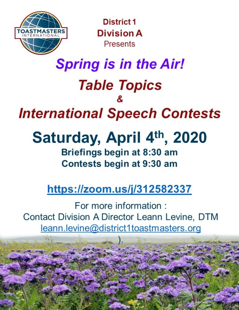 Division A International Speech and Table Topics Contest ...